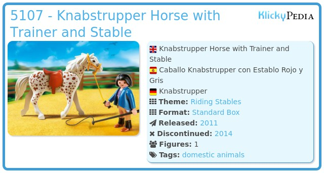 Playmobil 5107 - Knabstrupper Horse with Trainer and Stable