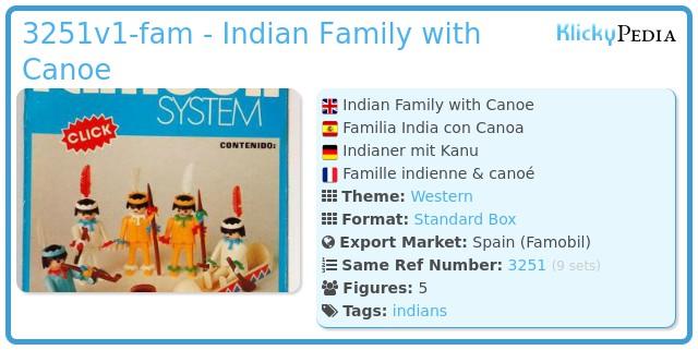 Playmobil 3251v1-fam - Indian Family with Canoe