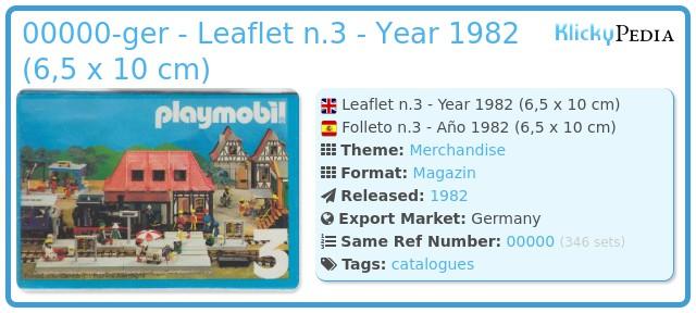 Playmobil 00000-ger - Leaflet n.3 - Year 1982 (6,5 x 10 cm)