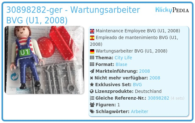 Playmobil 30898282-ger - Wartungsarbeiter BVG (U1, 2008)