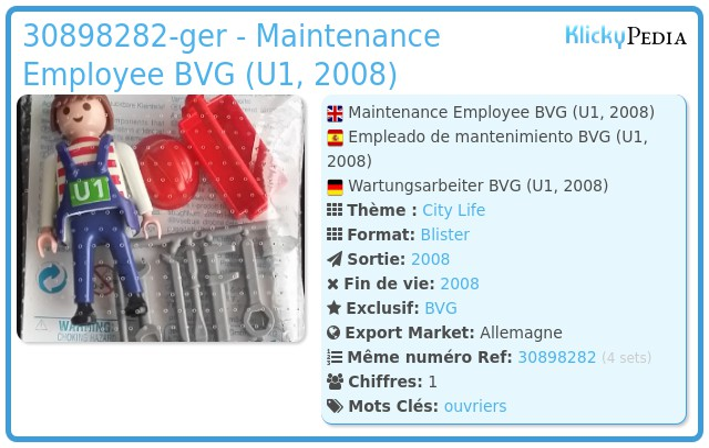 Playmobil 30898282-ger - Maintenance Employee BVG (U1, 2008)