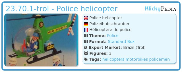Playmobil 23.70.1-trol - Police helicopter