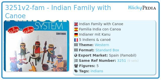 Playmobil 3251v2-fam - Indian Family with Canoe