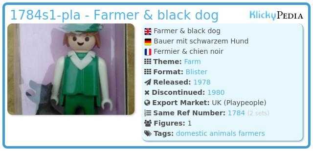 Playmobil 1784s1-pla - Farmer & black dog