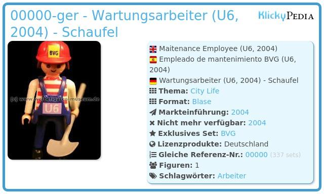 Playmobil 00000-ger - Wartungsarbeiter (U6, 2004) - Schaufel