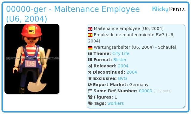 Playmobil 00000-ger - Maitenance Employee (U6, 2004)