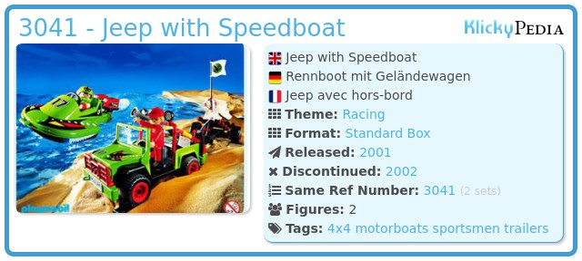 Playmobil 3041 - Jeep with Speedboat