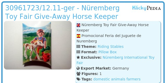Playmobil 30961723/12.11-ger - Nüremberg Toy Fair Give-Away Horse Keeper
