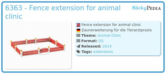 Playmobil 6363 - Fence extension for animal clinic