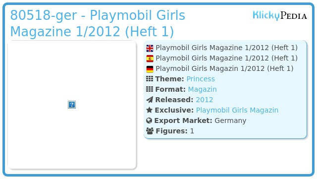 Playmobil 80518-ger - Playmobil Girls Magazine 1/2012 (Heft 1)