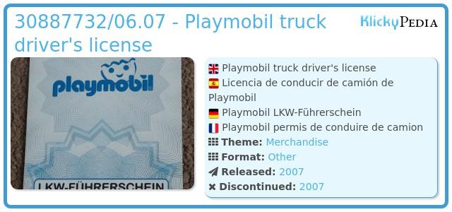 Playmobil 30887732/06.07 - Playmobil truck driver's license
