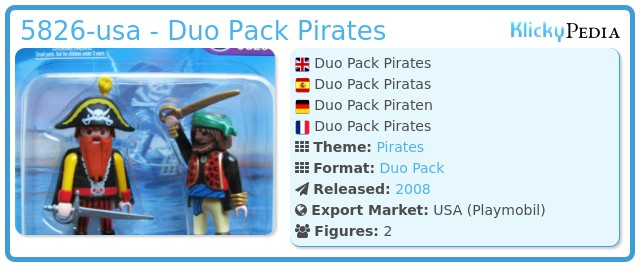 Playmobil 5826-usa - 2 pirates blister