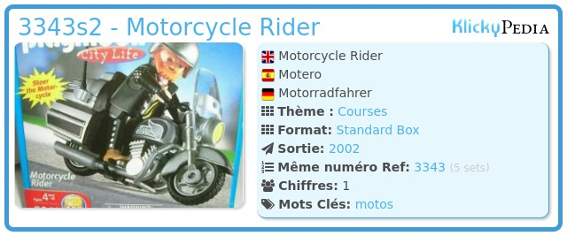 Playmobil 3343s2 - Motorcycle Rider