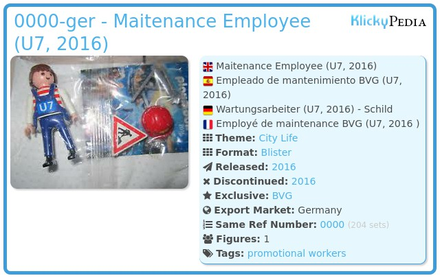 Playmobil 0000-ger - Maitenance Employee (U7, 2016)