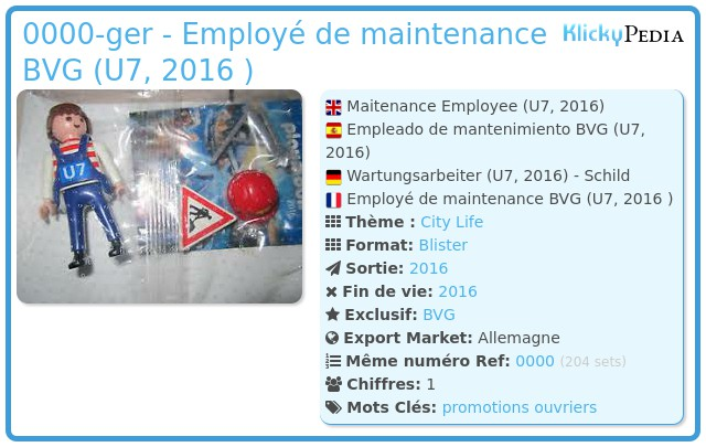 Playmobil 0000-ger - Employé de maintenance BVG (U7, 2016 )