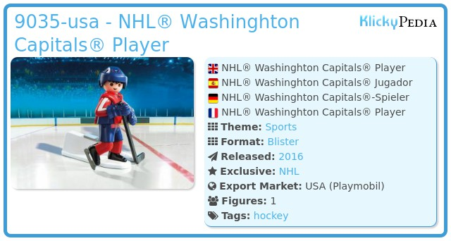 Playmobil 9035-usa - NHL® Washinghton Capitals® Player