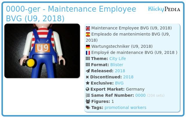 Playmobil 0000-ger - Maintenance Employee BVG (U9, 2018)
