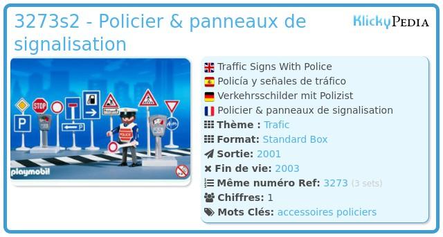 Playmobil 3273s2 - Policier & panneaux de signalisation