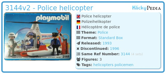 Playmobil 3144v2 - Police helicopter