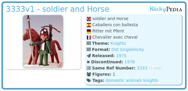 Playmobil 3333v1 - soldier and Horse