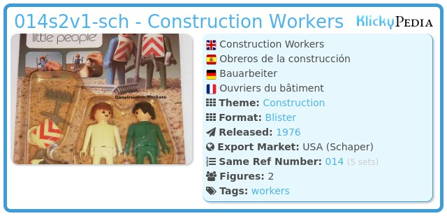 Playmobil 014s2v1-sch - Construction Workers