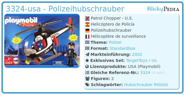 Playmobil 3324-usa - Polizeihubschrauber