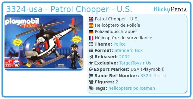 Playmobil 3324-usa - Patrol Chopper - U.S.