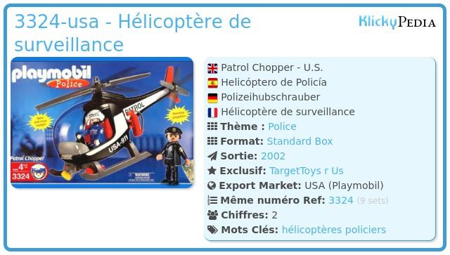 Playmobil 3324-usa - Hélicoptère de surveillance