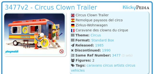 Playmobil 3477v2 - Circus Clown Trailer