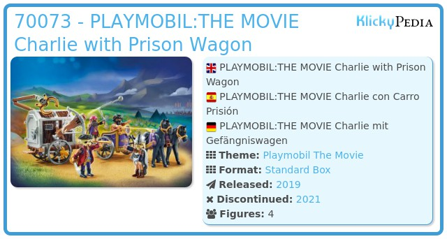 Playmobil 70073 - PLAYMOBIL:THE MOVIE Charlie with Prison Wagon