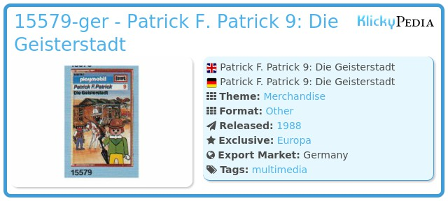 Playmobil 15579-ger - Patrick F. Patrick 9: Die Geisterstadt