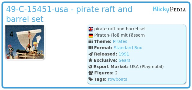 Playmobil 49-C-15451-usa - pirate raft and barrel set
