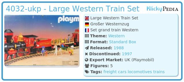 Playmobil 4032-ukp - Large Western Train Set