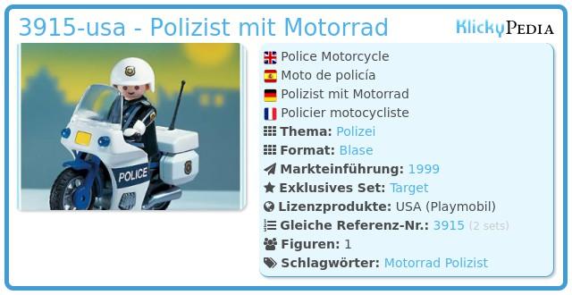 Playmobil 3915-usa - Polizist mit Motorrad