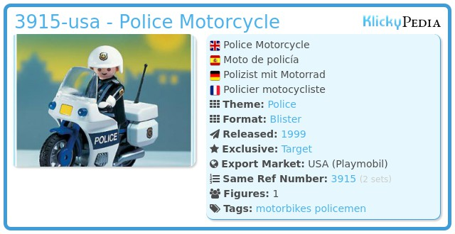 Playmobil 3915-usa - Police Motorcycle