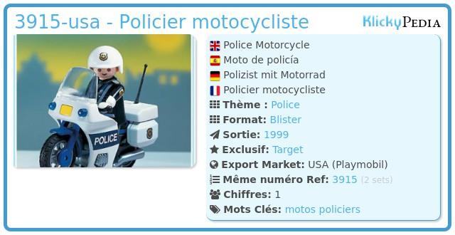 Playmobil 3915-usa - Policier motocycliste