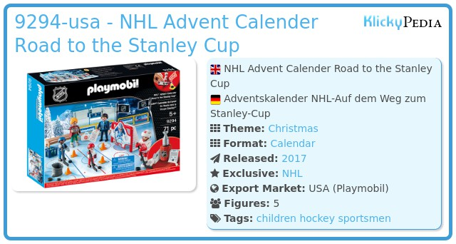 Playmobil 9294-usa - NHL Advent Calender Road to the Stanley Cup