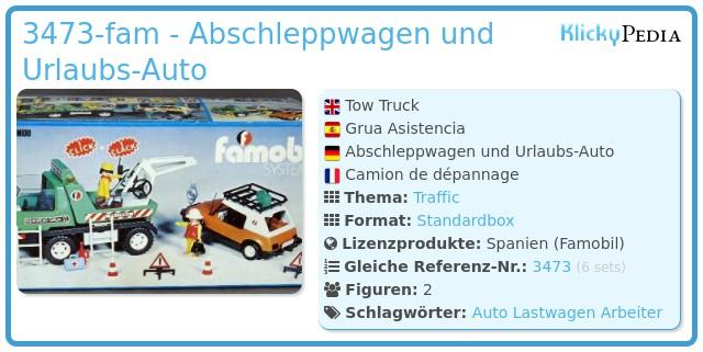 Playmobil 3473-fam - Abschleppwagen und Urlaubs-Auto