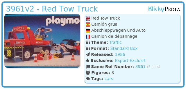 Playmobil 3961v2 - Red Tow Truck