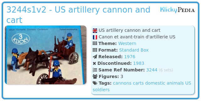 Playmobil 3244s1v2 - US artillery cannon and cart