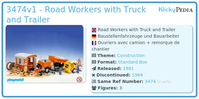Playmobil 3474v1 - Road Workers with Truck and Trailer