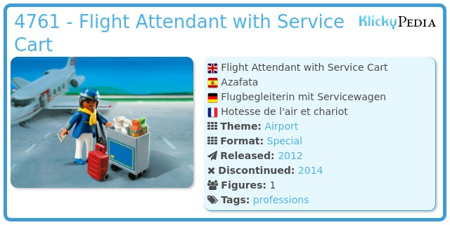 Playmobil 4761 - Flight Attendant with Service Cart