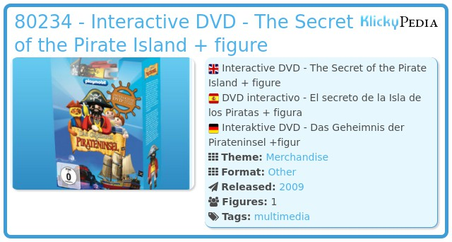 Playmobil 80234 - Interactive DVD - The Secret of the Pirate Island + figure