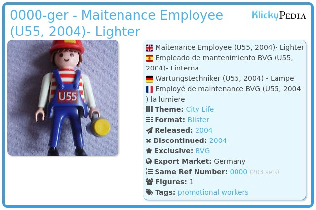 Playmobil 0000-ger - Maitenance Employee (U55, 2004)- Lighter