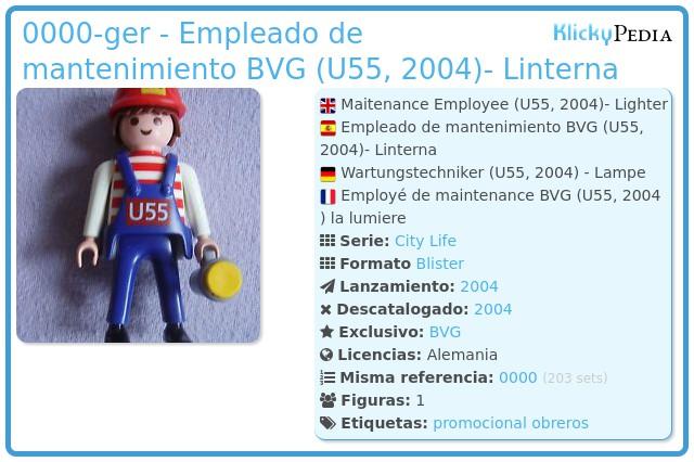 Playmobil 0000-ger - Empleado de mantenimiento BVG (U55, 2004)- Linterna