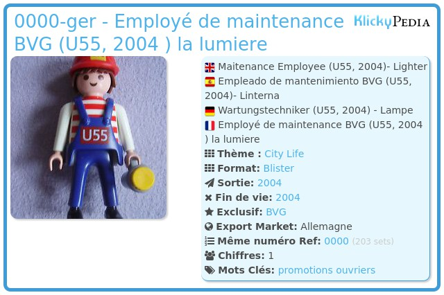 Playmobil 0000-ger - Employé de maintenance BVG (U55, 2004 ) la lumiere