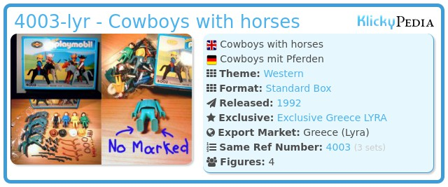 Playmobil 4003-lyr - Cowboys with horses