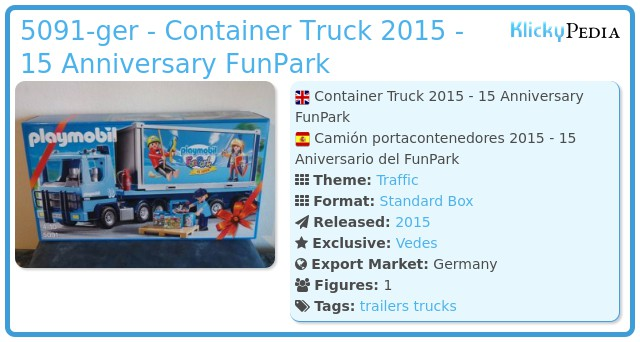 Playmobil 5091-ger - Container Truck 2015 - 15 Anniversary FunPark
