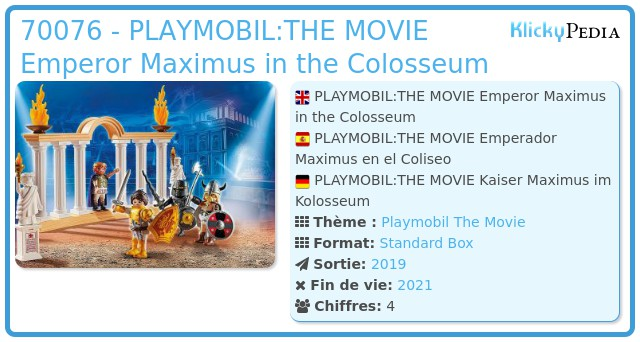 Playmobil 70076 - PLAYMOBIL:THE MOVIE Emperor Maximus in the Colosseum
