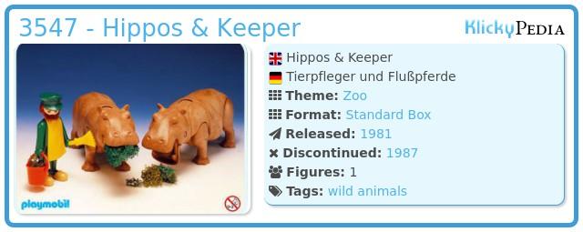 Playmobil 3547 - Hippos & Keeper